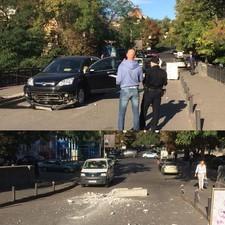 Лихач въехал на закрытый бетонными блоками аварийный мост в Одессе (ФОТО)