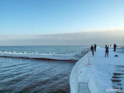 Зимний Ланжерон в Одессе: снег, лед, голодные котики и чайки (ФОТО)