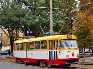В Одессе стоят трамваи 21-го маршрута