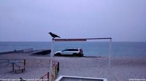 В Одессе на пляже застрял внедорожник