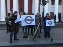 На Думской площади протестуют против роста стоимости проезда в одесских маршрутках (ФОТО)