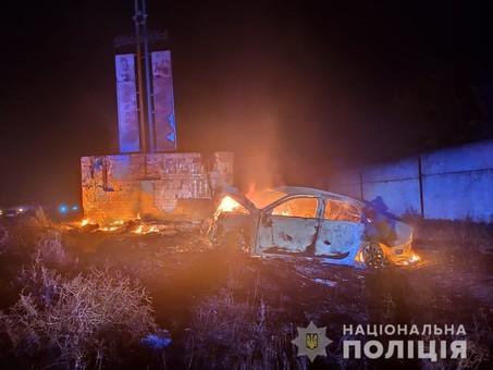 Два человека сгорели в автомобиле в результате ДТП под Одессой