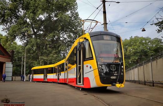 Одесский трёхсекционный трамвай вышел на 26-й маршрут