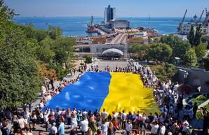 В Одессе развернули гигантский флаг Украины (ВИДЕО)